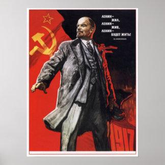 Russian Propaganda Poster with Lenin