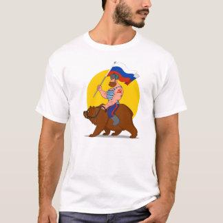 Russian riding a bear. T-Shirt
