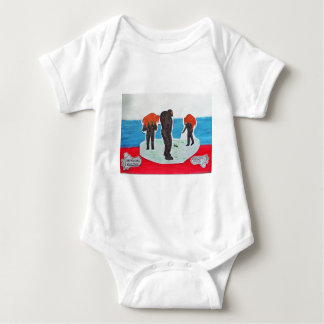 Russian sons hunting with father on flag. baby bodysuit