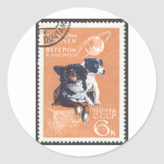 Russian Space Dogs 1966 Cosmos 110 Classic Round Sticker