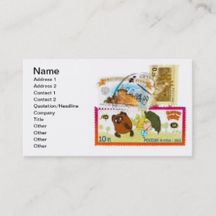 Postmark business cards zazzle russian stamps business card reheart Images