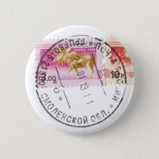 Russian stamps pinback button