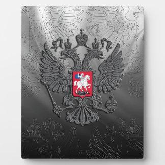 Russian symbol flag grey plaque