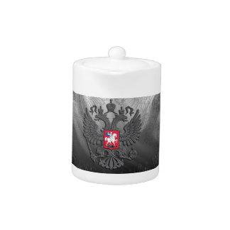 Russian symbol flag grey teapot
