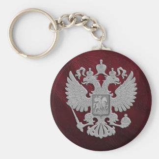 Russian symbol red basic round button keychain