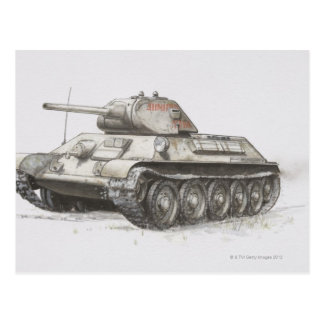 Russian T-34 army tank, side view. Postcard