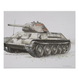 Russian T-34 army tank, side view. Poster