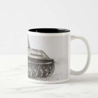 Russian T-34 army tank, side view. Two-Tone Coffee Mug