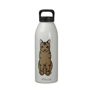 Russian Tabby Cat Cartoon Water Bottles