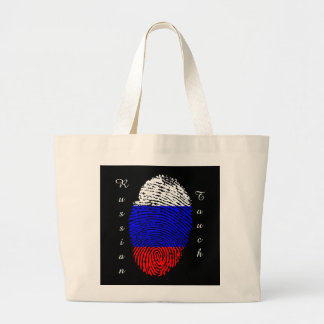 Russian touch fingerprint flag large tote bag