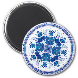 Russian traditional ornament in Gzhel style Magnet