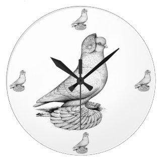 Russian Tumbler Pigeon Large Clock