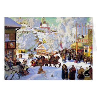Russian Village in the Winter Greeting Cards