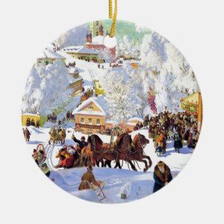 Russian Village in the Winter Ceramic Ornament
