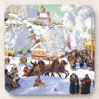 Russian Village in the Winter Coasters