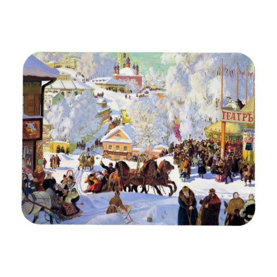 Russian Village in the Winter Magnet