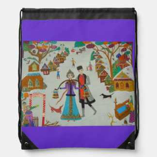 Russian Village in Winter Drawstring Backpack