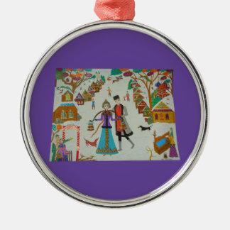 Russian Village in Winter Ornament - Premium Round