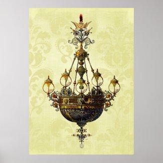 Russian Vintage Antique Chandelier Poster
