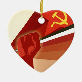 Russian Vintage Communist Propaganda Ceramic Ornament