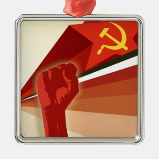 Russian Vintage Communist Propaganda Metal Ornament