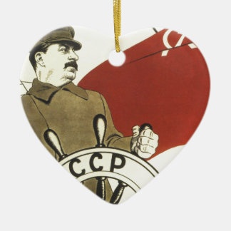 Russian Vintage Communist Propaganda Poster Ceramic Ornament