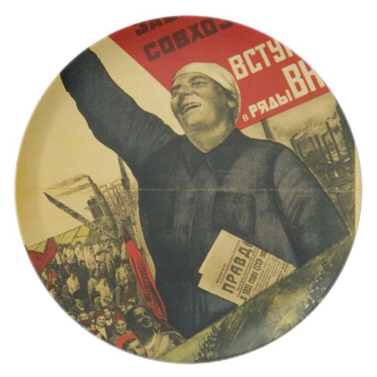 Russian Vintage Communist Propaganda Poster Melamine Plate