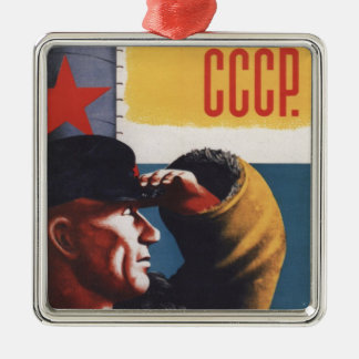 Russian Vintage Communist Propaganda Poster Metal Ornament