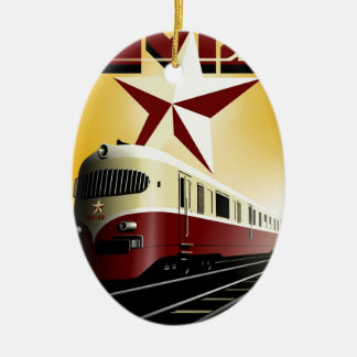 Russian Vintage Communist Railway Poster Ceramic Ornament