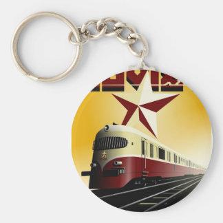 Russian Vintage Communist Railway Poster Keychain