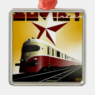 Russian Vintage Communist Railway Poster Metal Ornament