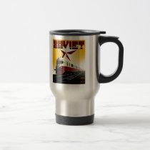 Russian Vintage Communist Railway Poster Travel Mug