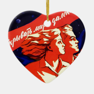Russian Vintage Communist Space Propaganda Ceramic Ornament