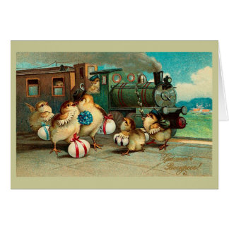 Russian Vintage Easter With Train Cards