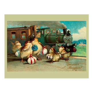 Russian Vintage Easter with Train Fine Postcard