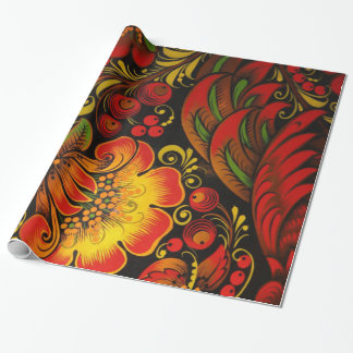 Russian Vintage Fine Floral Pattern Wrapping Paper