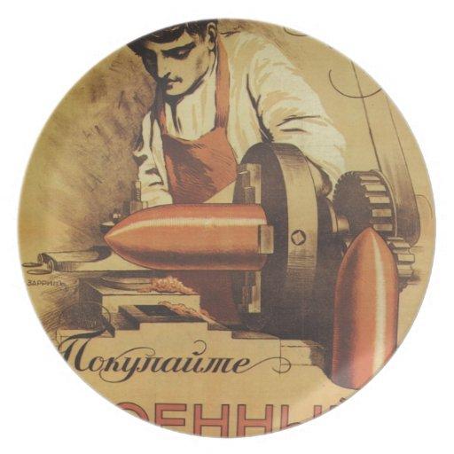 Russian Vintage Propaganda Poster Plate