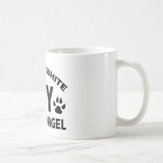 russian white cat design coffee mug