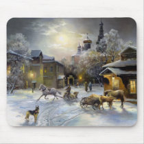 Russian Winter Painting Mouse Pad