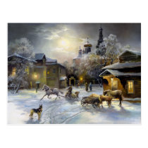 Russian Winter Painting Postcard