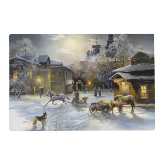 Russian Winter Village Painting Laminated Placemat
