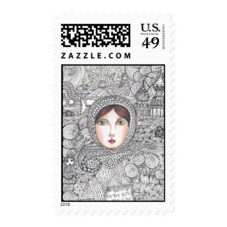 russian woman postage stamps