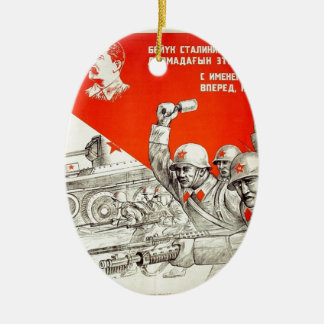 Russian WWII Propaganda Ceramic Ornament
