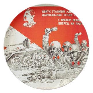 Russian WWII Propaganda Dinner Plates