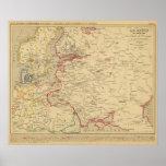 Russie, Pologne, ante, Norwege, en 1840 de Danemar Poster