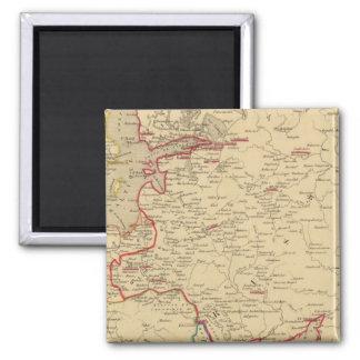 Russie, Pologne, Suede, Norwege, Danemarck en 1840 2 Inch Square Magnet