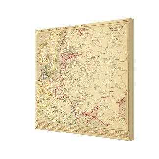 Russie, Pologne, Suede, Norwege, Danemarck en 1840 Canvas Print
