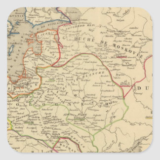 Russie, Pologne, Suede, Norwege, Danemarck Square Sticker