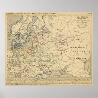Russie, Pologne, Suede, Norwege, Danemarck Poster