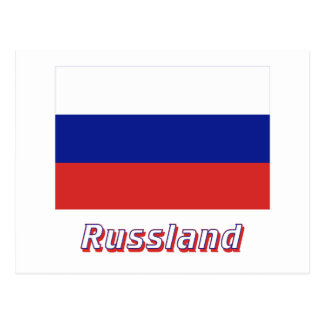 Russland Flagge mit Namen Post Cards